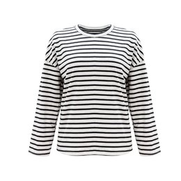 Wholesale women's t shirt online – design explosion models striped shirt female European and American women s Autumn loose long sleeved T shirt