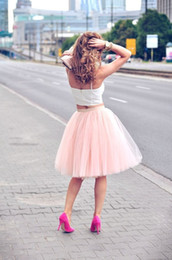 Discount sexy tutus for women - Real Picture Knee Length White Tulle Tutu Skirts For Adults Custom Made A-Line Cheap Party Prom Dresses Women Under Clot