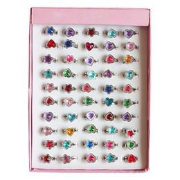 $enCountryForm.capitalKeyWord Australia - 10pcs Set Random Love Heart Flower Rings Kids Cute Sweet Jewelry Accessories Princess Girls Child Christmas Gifts Finger Ring