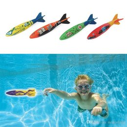 Plastic Pools for kids online shopping - 4pcs outdoor beach Pool Water toys Dive torpedo throwing toys shark Funny toys for Children boys girls in summer