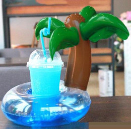 Wholesale New Single Hole Coconut Tree Inflatable Drink Cup Holder Water Coaster Bottle Holder Floating Lovely Pool Bath For Beach Epacket Free