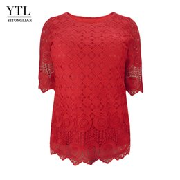 $enCountryForm.capitalKeyWord UK - Ytl Women Plus Size Clothing Vintage Delicate Floral Crochet Lace Top Solid Casual T Shirt Ladies Tshirt Tees 5xl 6xl 7xl H139 Y19072001