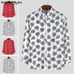 fashion hawaiian shirts 2019 - Mens Dress Shirt Leaf Printed Lapel Fitness Chic Long Sleeve Blouse Fashion Breathable Casual Hawaiian Shirts Men INCERU