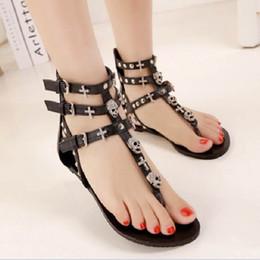 Flat Shoes Sandals For Women Australia - Metail Skull Fashion Sandals For Women Summer Shoes Roman Style Gladiator Sandals Shoes Woman Flip Flop Flats Female Beach