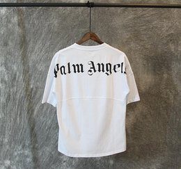 Ingrosso camicia Palm Angels T Bianco e nero lettere Stampa Estate T Uomini Donne oversize Tee Shirt Hip Hop Via Tops4