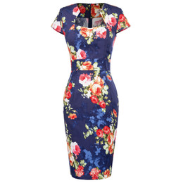 cocktail animals 2019 - Women Elegant Sexy Floral Flower Print Party Dresses Club Cocktail Fitted Bodycon Office Work Clothing Plus Size Pencil