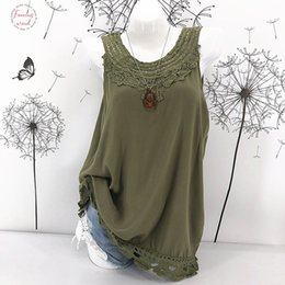 lace splice t shirt Canada - Plus Size 5Xl Women Ladies Cami Lace Splice Top Camisole Sexy Loose Top Sleeveless T Shirt Tank Vest Summer Fashion Clothes