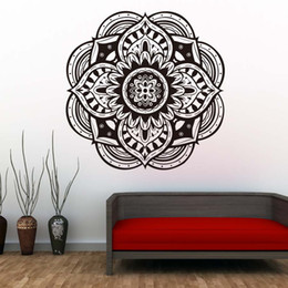 $enCountryForm.capitalKeyWord UK - 1 Pcs Mandalas Yoga Wall Sticker Indian Pattern Wall Stickers Waterproof Vinyl Art Design Home Decor Removable Wall