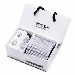 necktie boxes NZ - Gift box Custom Personalized Mens Ties Hankie Cufflinks Sets Neckwear 8cm Paisley Cravats Striped Necktie for Men Wedding Party