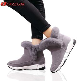 365e3aedc 2019 BENZELOR 2018 Invierno de piel sintética zapatos de mujer Mujer Botas  de nieve Tobillo Plataforma caliente Cuña Moda Femme Señoras Bota Negro  Calzado