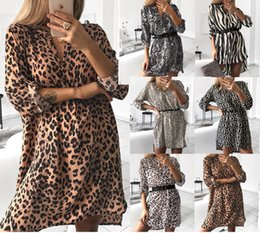 Cap Sleeved Dresses Australia - Women Dress Spotted Stripes 2019 New Arrival Women's Fashion V-neck Long sleeved Snake Print Shirt Dress Without Belt Size S-XL