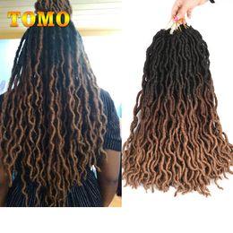 $enCountryForm.capitalKeyWord Australia - TOMO Goddess Locs Crochet Hair Black Brown Blonde Ombre Crochet Braids Synthetic Braiding Hair Extensions For Black White Woman 24Roots pack