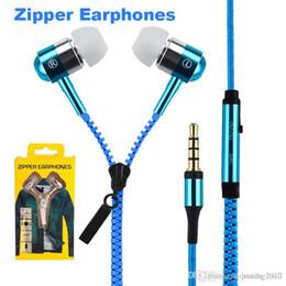 Iphone Earphones Metal Australia - Zip in-ear 3.5mm earphone with mic metal buds zipper headset headphone for MP3 iphone 6 plus Ipod Samsung htc with retail box