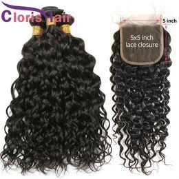virgin brazilian wavy hair weave 2019 - Water Wave Brazilian Virgin Hair Bundles With Closure 5x5 Swiss Lace Human Hair Weaves Closure Cheap Wet And Wavy Hair E