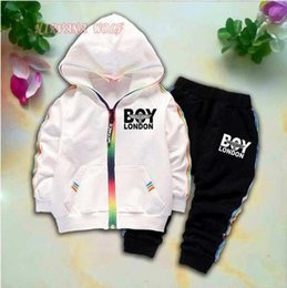 $enCountryForm.capitalKeyWord Australia - 2019 Kids Cardigan Coats And Pants 2Pcs sets 1-4T Children Sports Sets Rainbow Zipper Long Sleeve Colorful Striped Letters Printing Style.