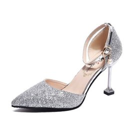 $enCountryForm.capitalKeyWord NZ - Hot Sale-2019 New Womens High Heels Sandals Glitter Pumps Wedding Shoes Designer Hollow Out Sexy Pointy Toes Stiletto Heel Pearl Dectoration