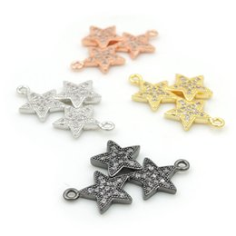 $enCountryForm.capitalKeyWord Australia - 24*15*2mm Micro Pave Clear CZ 3 Stars Charm Connectors Fit For Men And Women Making Bracelets Jewelry