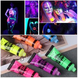 Painting Faces Australia - Drop Ship Body Paint Pigments Facial Night Light Painting Luminous Makeup Fluorescent Face Body Tattoo Henna Festival Art