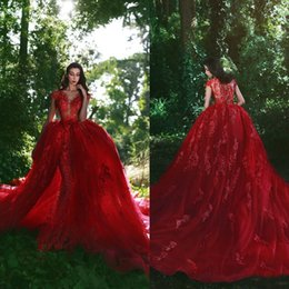 $enCountryForm.capitalKeyWord NZ - Luxury Arabic Dubai Red Mermaid Evening Dresses Long Train Detachable Overskirts 2019 Lace Appliqued Illusion Bodice Sexy Prom Party Gowns