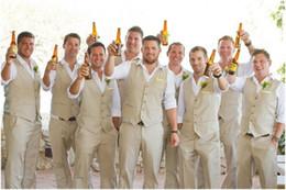 Beige Color Suits Australia - Custom Champagne Beige Men Suit Casual Linen Summer Beach Wedding Suits For Men Groom Best Man Party Prom Vest Pants 2 Pieces