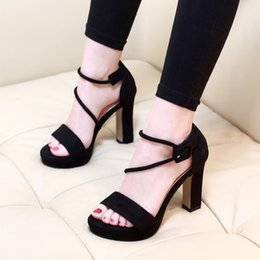 $enCountryForm.capitalKeyWord Australia - Gorgeous2019 Word One Button With High-heeled Waterproof Platform Hollow Out Sexy Fish-billed Shoes Sandals Woman