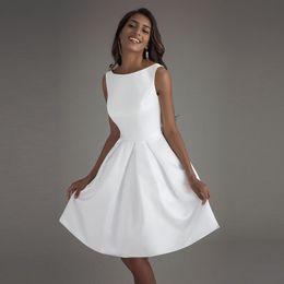 $enCountryForm.capitalKeyWord Australia - Short Beach Wedding Dresses 2019 Vestido Noiva Praia Simple New White Real Photo Backless A-Line Prom Party Bridal Gowns