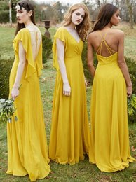 0b91ea49040 Gold Yellow Chiffon Boho Bridesmaid Dress with Ruffles Cap Sleeves V-Neck Long  Country Formal Beach Party Dress for Weddings Guest Gowns