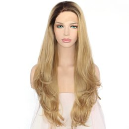 halloween lace wig NZ - New Cosplay Hand Tied Dark Roots Ombre Blonde Natural Wavy Lace Front Wig Glueless Synthetic Heat Resistant Fiber Hair Women Halloween Wigs