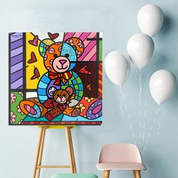 pop canvas prints Australia - Romero Teddy Bear Pau Brasil Modernist Canvas Painting POP Wall Art Street Poster HD Picture Print Decorative Living Room Home Decor