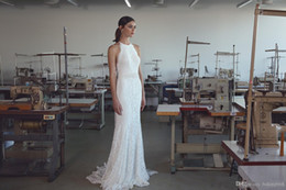 $enCountryForm.capitalKeyWord Australia - 2019 Vintage Lihi Hod Mermaid Wedding Dresses with Halter Neck Sweep Train Fully Classy Elegant Lace Trumpet Beach Bridal Gowns Cheap