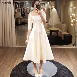 half sleeve tea dress Australia - SHJ805 Simple Tea Length Dresses With Half Sleeves Square Collar Bridal Dress A-line Evening Dresses Gowns 2019 Custom Made