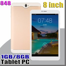 848 8 inch Dual SIM 3G Tablet PC IPS Screen MTK6582 Quad Core 1GB RAM 8GB ROM Android 4.4 Phablet MID on Sale