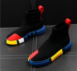 Black ruBBer hip Boots online shopping - summer men s high tops socks shoes hip hop trend men s shoes mesh mens Casual Shoes Men s Sneaker youth ankle boots