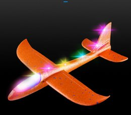 $enCountryForm.capitalKeyWord NZ - 48cm LED Airplane Hand Launch Throwing Glider Aircraft Inertial Foam EPP Foam Airplane Toy Plane Model Outdoor Toy Educational Toys