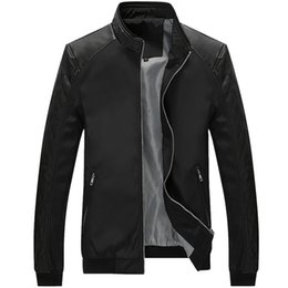 korean slim men s clothing UK - Spring New Style Youth Jacket Men Thin Korean-style Slim Fit PU Leather Joint Casual Trend Spring Clothing