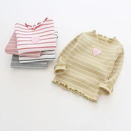 Girl Red Love Shirt NZ - Girls T Shirt 2019 Autumn Baby Girl Clothes Children School Girl Striped Love Blouse Knit Cotton Child Shirt Blusas Kids Clothes