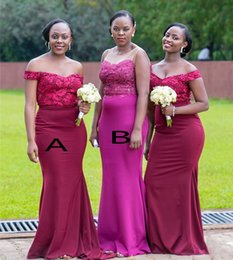 Coral navy bridesmaid dresses online shopping - African Hot Mermaid Bridesmaid Dresses Appliques Sequins Satin Long Maid of Honor Gowns Elegant Off Shoulder Neck Wedding Guest Wear BM1564