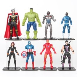 12 marvel figure NZ - The Avengers Set Superhero Batman Thor Hulk Captain America Action Resin Model Figures Doll Marvel Toys Wholesale 8 Pcs lot 7-10cm