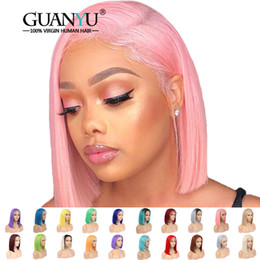 $enCountryForm.capitalKeyWord Australia - Pink Bob Lace Front Wigs Human Hair Pre Plucked 613 Blonde Blue Red Grey Green Straight Ombre Short Bob Wigs For Black Women Y190713