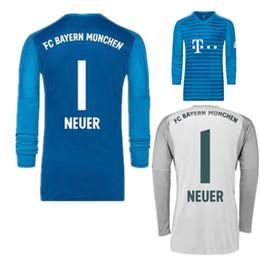 2018 2019 Long Sleeve Away Blue NEUER Goalkeeper Jersey Soccer Jerseys  1  Manuel Neuer 26 Ulreich Goalie GK Kit 18 19 Grey Football Shirts a2a8562ac