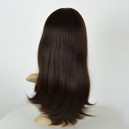 long straight dark brown wigs Australia - In stock small layer color 2# dark brown mongolian virgin hair Jewish wigs Kosher wig for women multidirectional top