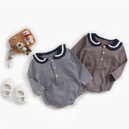 Toddler Leopard Jumpsuit Australia - New INS Toddler Baby Boys Stripes Jumpsuits Turn-down Collar 100% Cotton Front Button Long Sleeve Onesie Spring Fall Newborn Romper For 0-3T