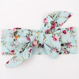 $enCountryForm.capitalKeyWord Australia - Vintage Bule Floral baby headbands Floral baby products pack big bow turban baby girls headband top Knot newborn headband