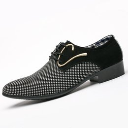 Chinese  Mens Fashion Leather Concise Men Business Dress Pointy Plaid Black Shoes Breathable Formal Wedding Basic Shoes Men 2018 loafers manufacturers