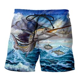 Wholesale Summer Mens Casual Fish Shorts Big jump blue marlin with mahi d Printed Elastic Short Trousers