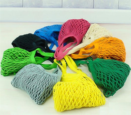 Food nets online shopping - 14 Color Home Storage Bag Large Size Reusable String Shopping Grocery Bag Shopper Tote Mesh Net Woven Cotton Bags Portable Shopping Bags