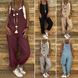 $enCountryForm.capitalKeyWord Australia - ZANZEA 2019 Summer Pantalon Women Overalls Vintage Cotton Jumpsuits Playsuit Female Harem Pants Pantalon Plus Size Rompers S-5XL T5190606