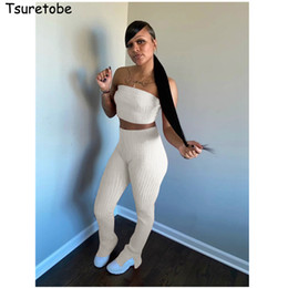 female night suits NZ - Tsuretobe Ribbed 2 Piece Set Women Summer Clothes Crop Top And Pants Suit Off Shoulder Matching Sets Night Club Outfits Female CX200702