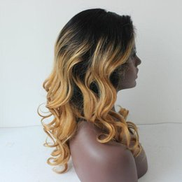 tone wigs for black women UK - Super Wavy Full Lace Human Hair Wigs Ombre For Black Women 100 %Malaysian Two Tone Ombre 1b  27 Lace Front Wavy Wig