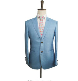$enCountryForm.capitalKeyWord UK - WL Men's Tailor Made light blue linen Suit Sets Wedding Suit 3pcs (Jacket+Pant+vest)